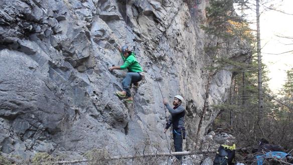 Climbing in Flip Flops.