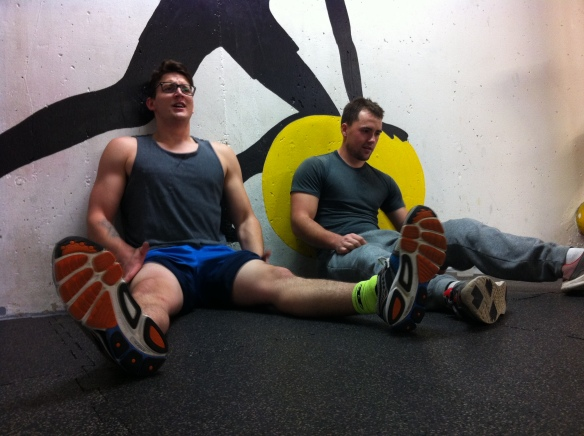 Shaking out after wall sits.